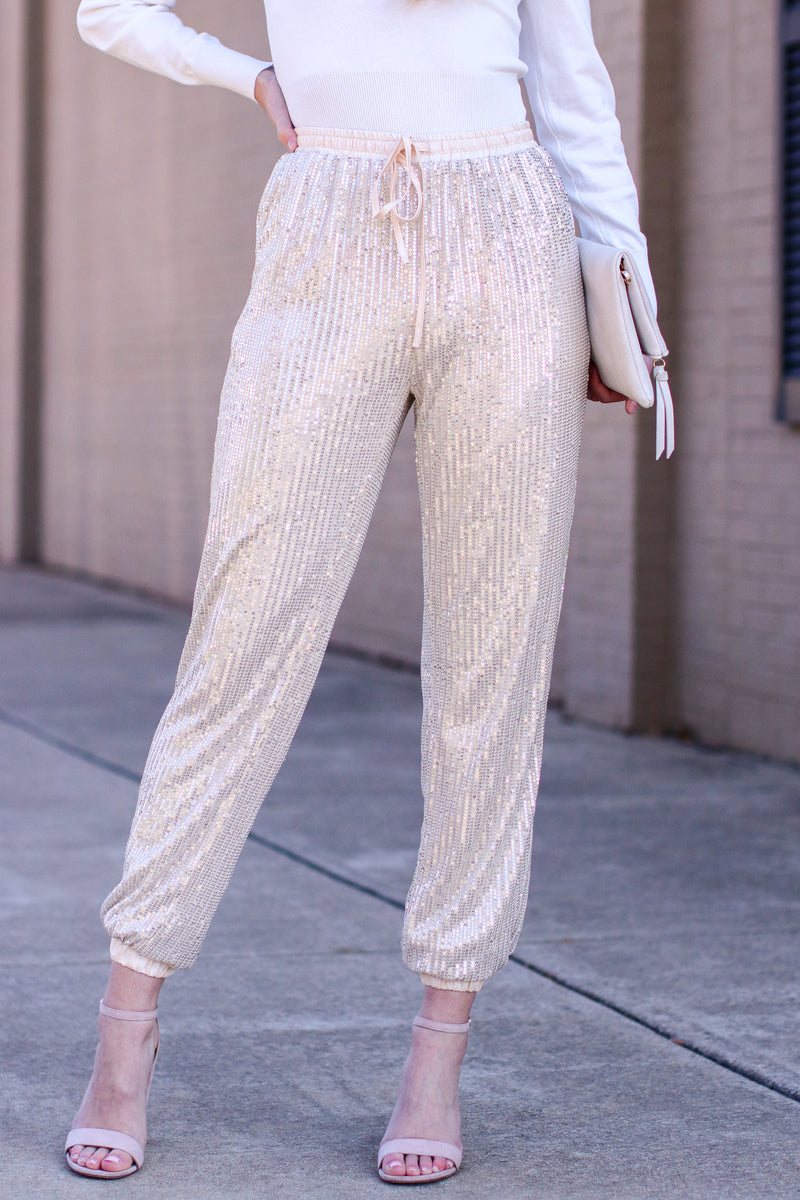 S / Champagne Sweet Sparkles Sequin Joggers - Madison and Mallory