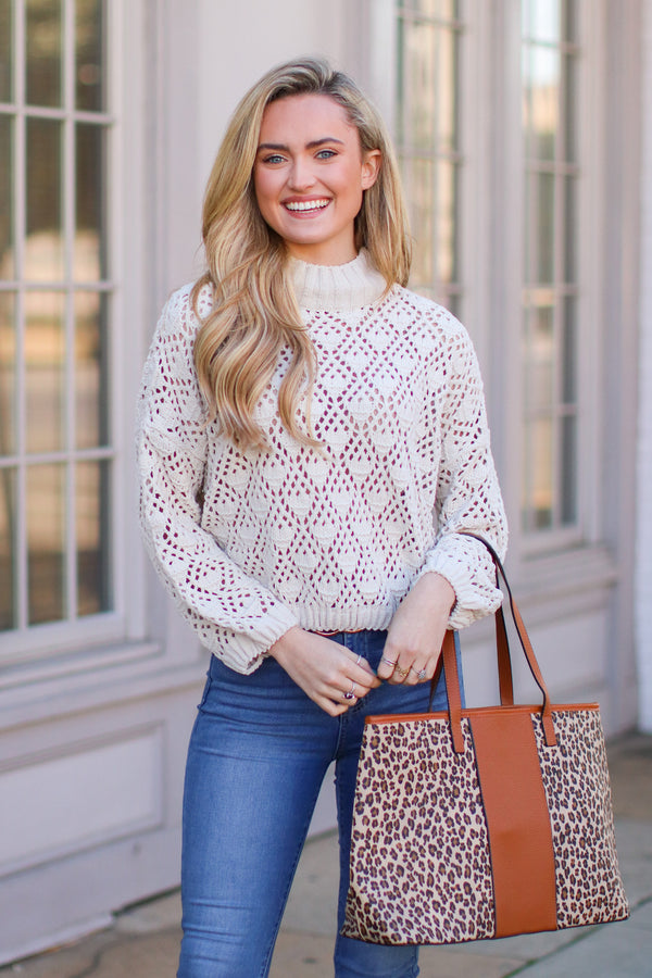 Cream / S Nicolet Crochet Detail Sweater - Cream - FINAL SALE - Madison and Mallory