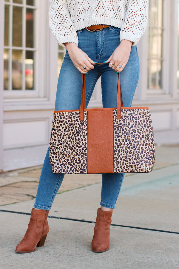 Brown In Haute Pursuit Leopard Shopper Tote - Madison + Mallory