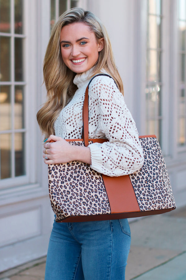 In Haute Pursuit Leopard Shopper Tote - Madison + Mallory