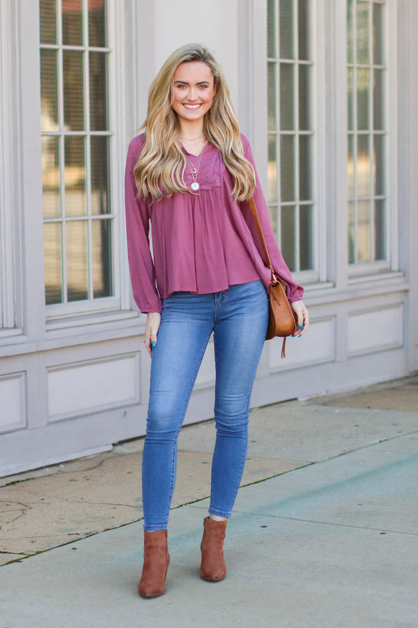 As Long as You Love Me Lace Top - Dusty Rose - Madison and Mallory