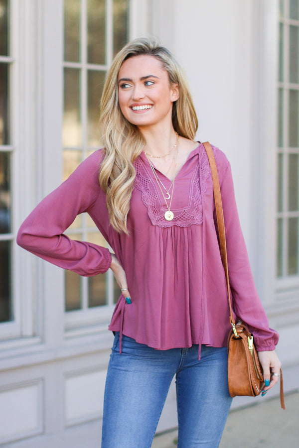 S / Dusty Rose As Long as You Love Me Lace Top - Dusty Rose - Madison + Mallory