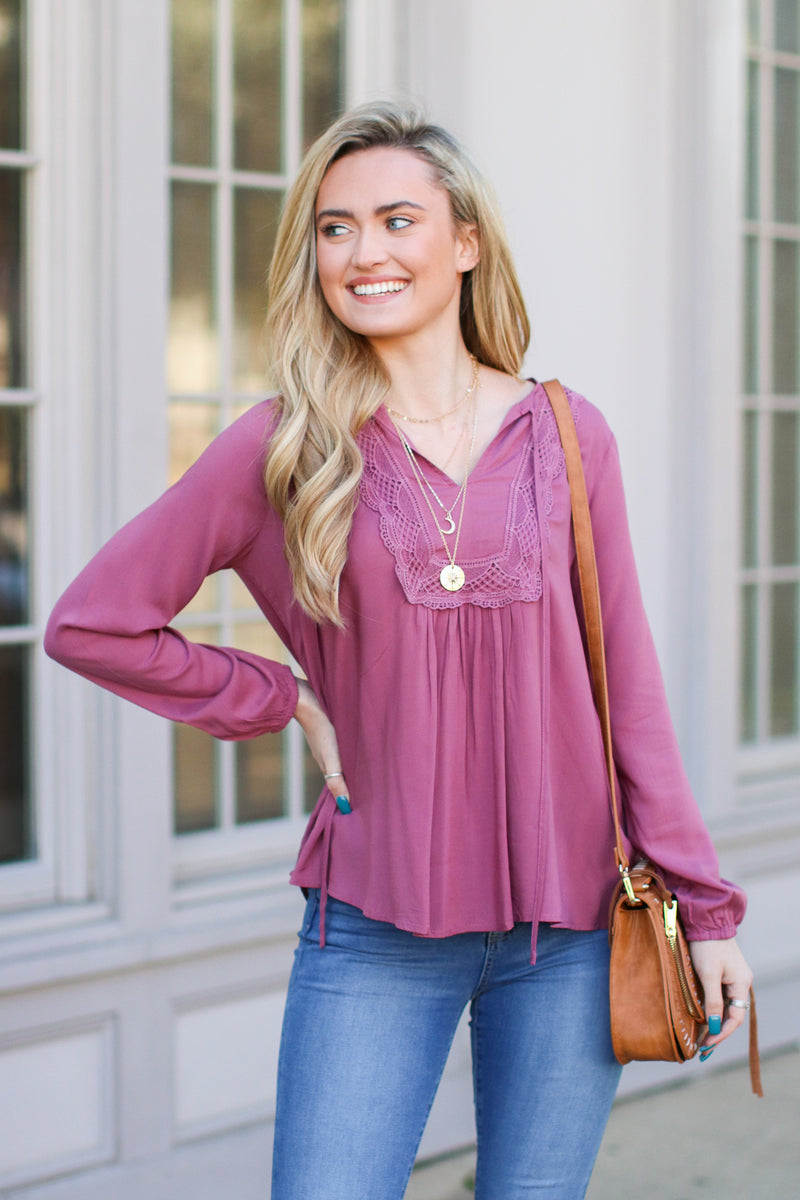 S / Dusty Rose As Long as You Love Me Lace Top - Dusty Rose - FINAL SALE - Madison and Mallory