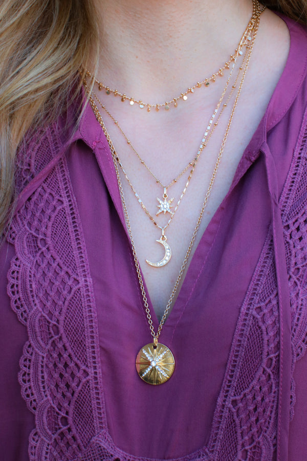 Gold Nirvana Celestial Layered Necklace - Madison and Mallory