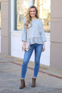 S / Heather Gray Spokane Lace Hem Top - Madison + Mallory