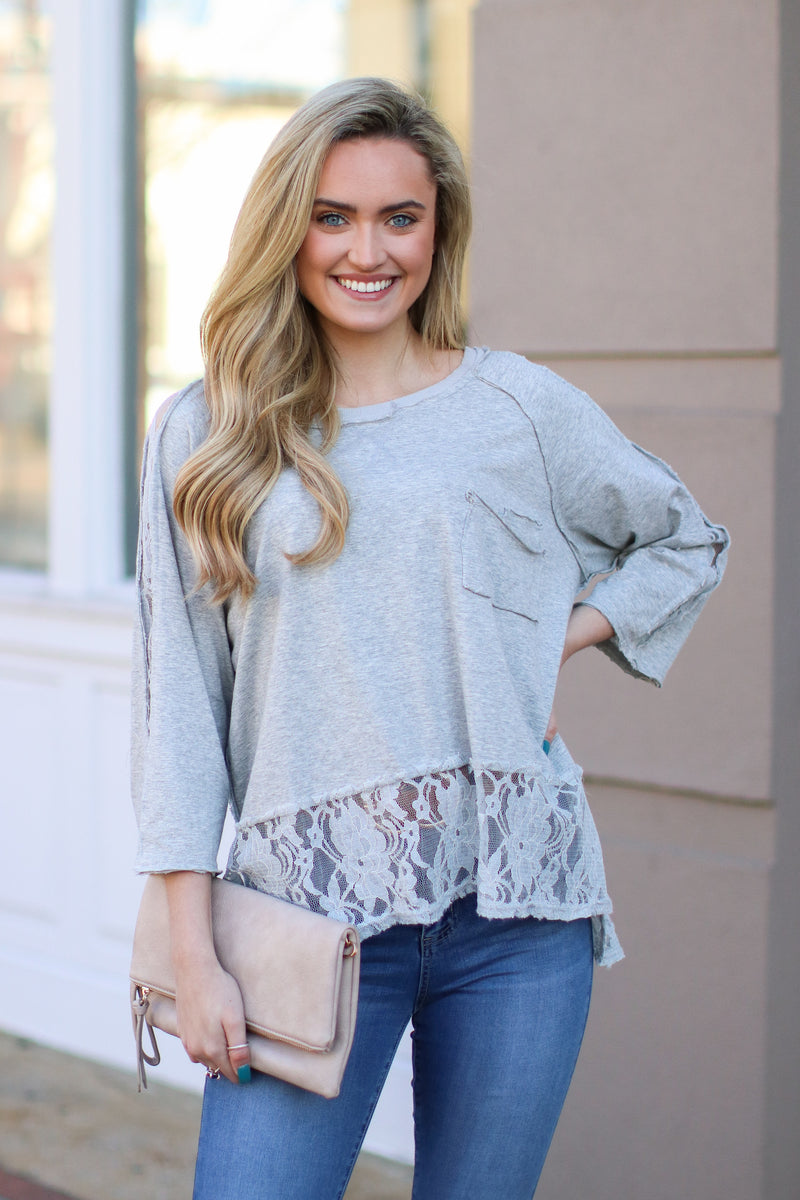 Spokane Lace Hem Top - Madison + Mallory