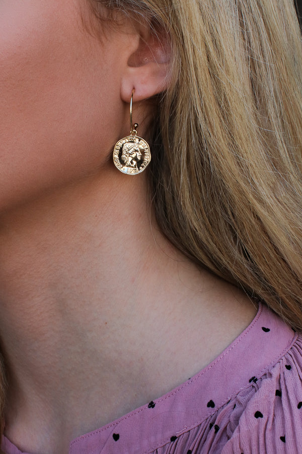 Gold Kahlan Coin Hoop Earrings - Madison + Mallory