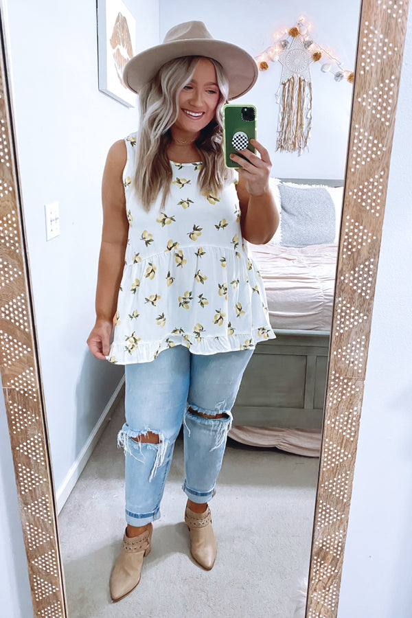 Ivory / S Squeeze the Day Lemon Ruffle Tank - FINAL SALE - Madison and Mallory