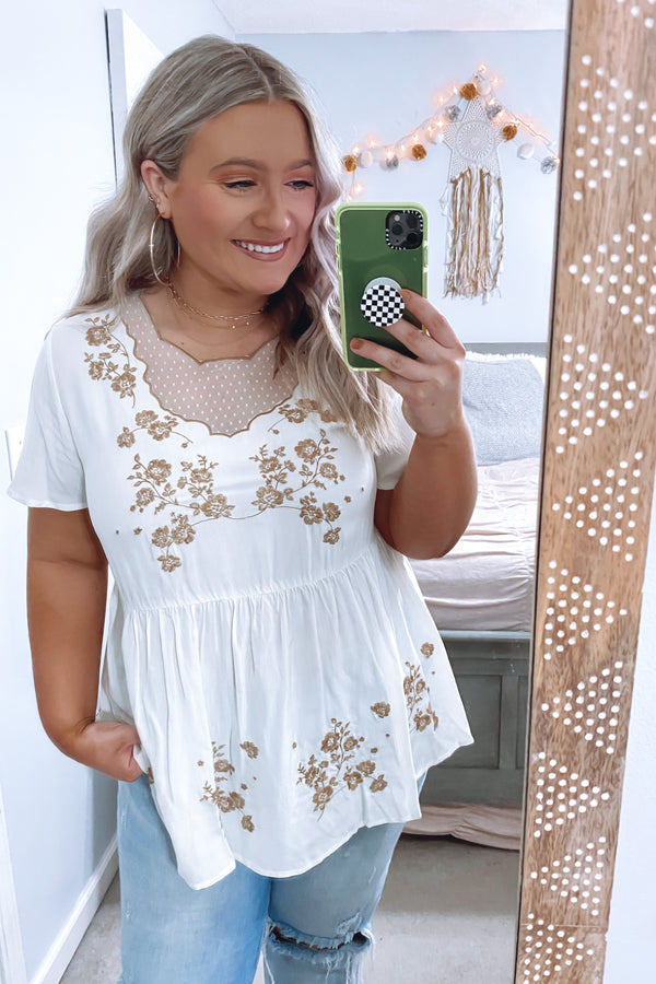 S / Ivory Booked Up Embroidered Detail Top - Madison and Mallory
