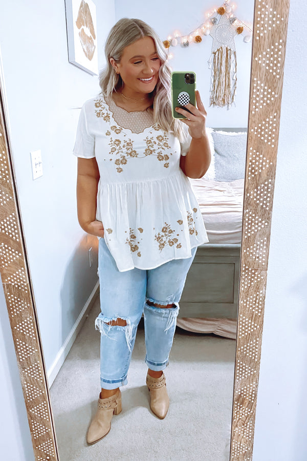 Booked Up Embroidered Detail Top - FINAL SALE - Madison and Mallory