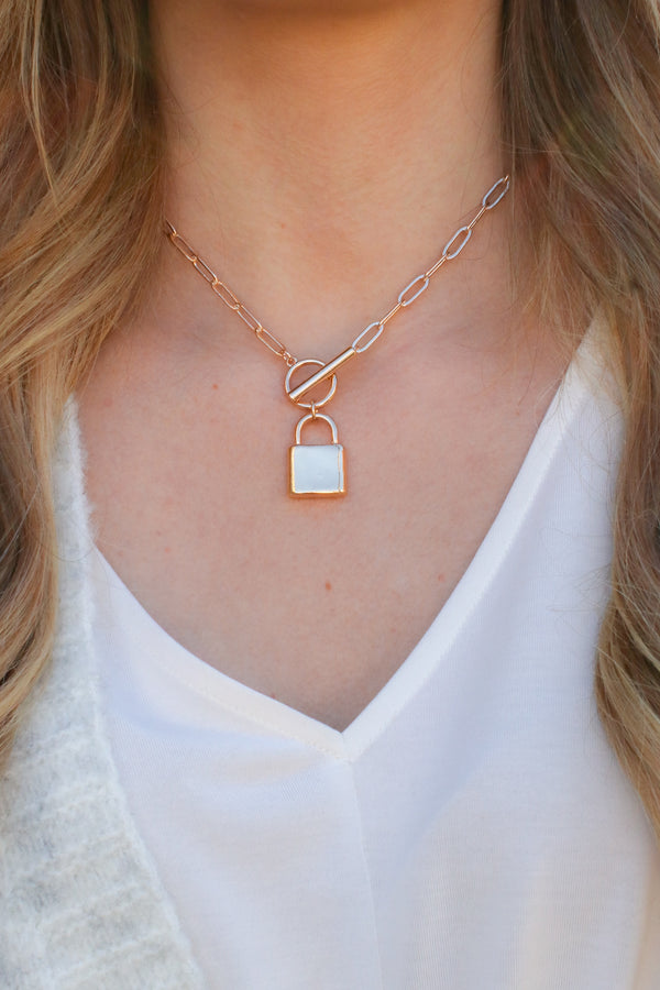 Gold Got me in Chains Lock Necklace - Madison + Mallory
