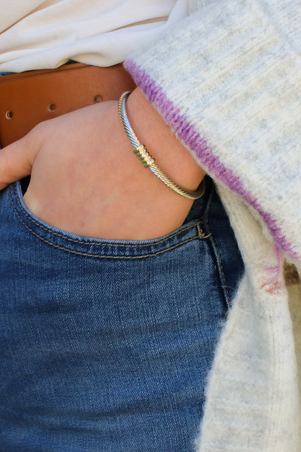 Silver/Gold Gleaming Twisted Cuff Two-Tone Bracelet - Madison and Mallory