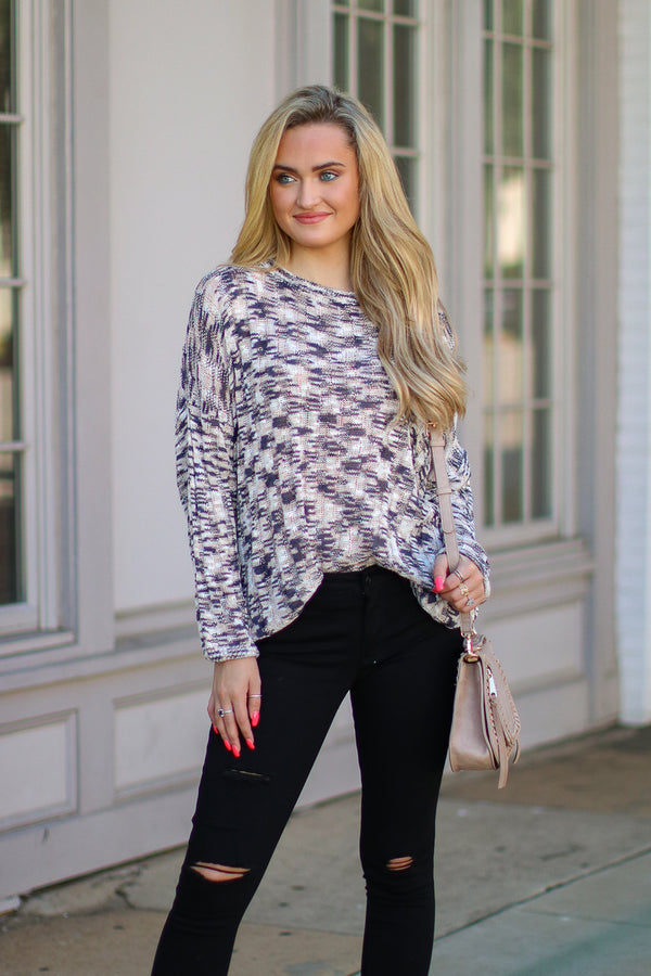 S / Gray Undivided Attention Knit Sweater - FINAL SALE - Madison and Mallory