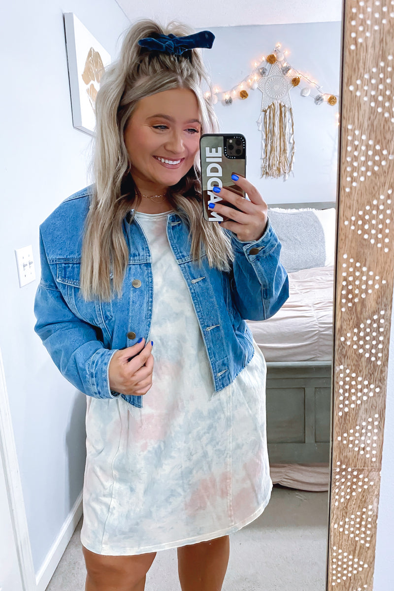 S / Blush Slow Tide Tie Dye Dress - Madison and Mallory