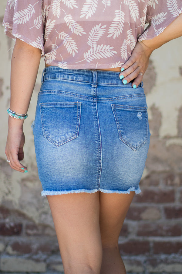 Get Sassy Frayed Skirt - Madison + Mallory