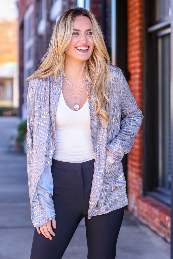 Gray / S Behind the Sequins Blazer Jacket - Madison and Mallory