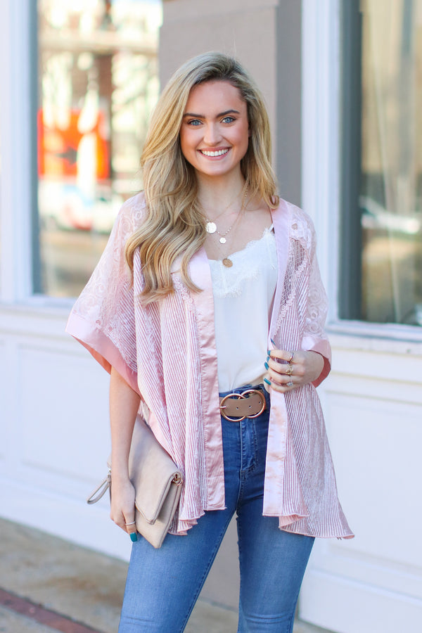 SM / Pink Elodie Velvet Striped Floral Kimono - Madison and Mallory