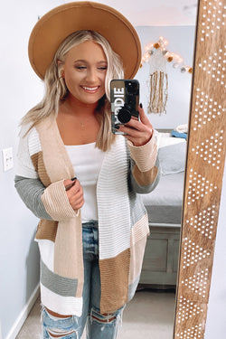 S / Camel Gela Color Block Cardigan - Madison and Mallory