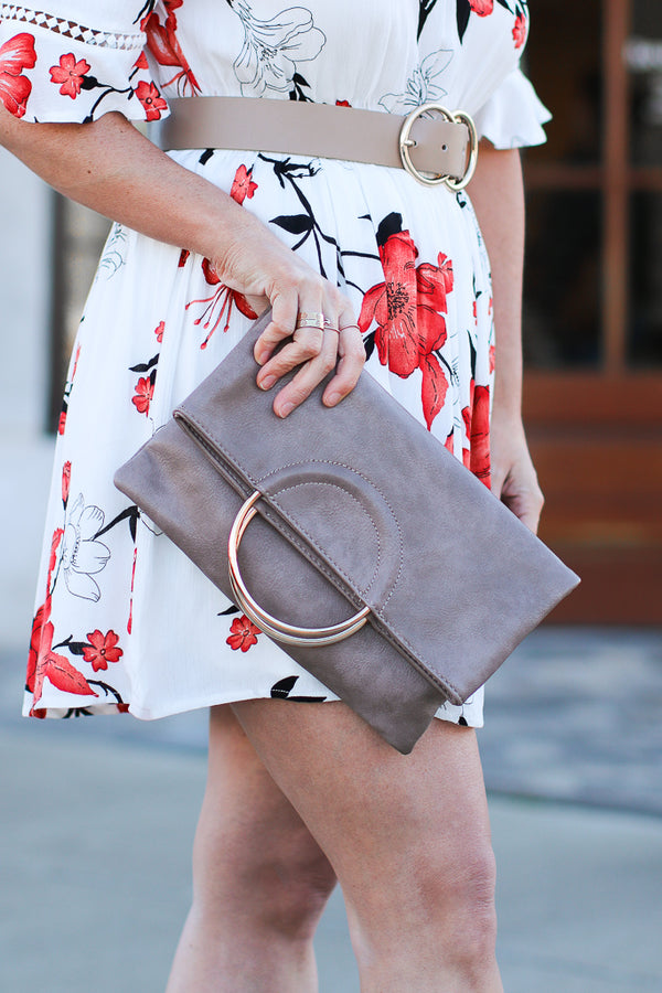 OS / Taupe Carrboro Ring Clutch - Madison + Mallory