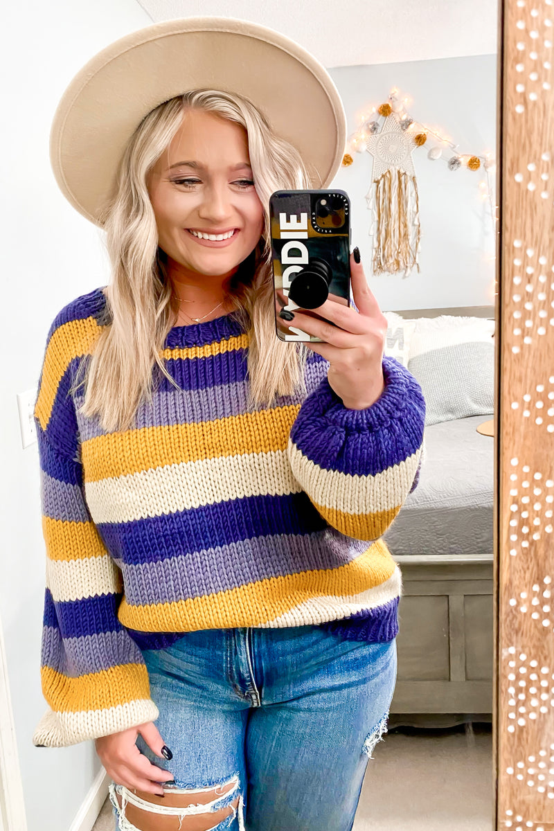 S / Navy Henson Striped Knit Sweater - Madison and Mallory