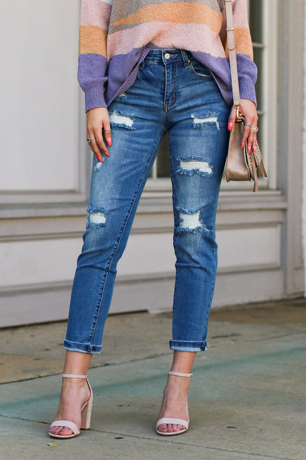 1 / Medium Wash Kacey Skinny Distressed Boyfriend Jeans - Madison + Mallory