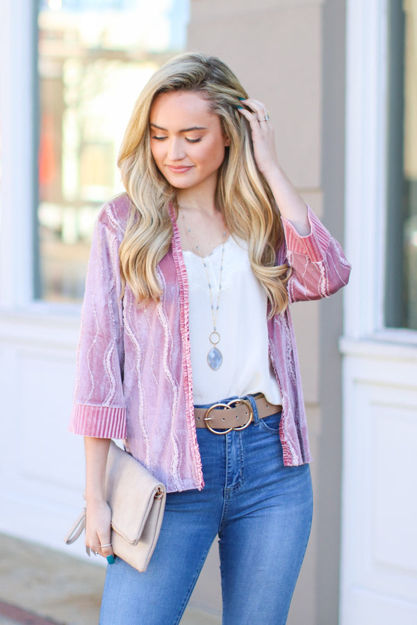 S / Dusty Pink Keep Me Guessing Velvet Sequin Kimono - Madison and Mallory