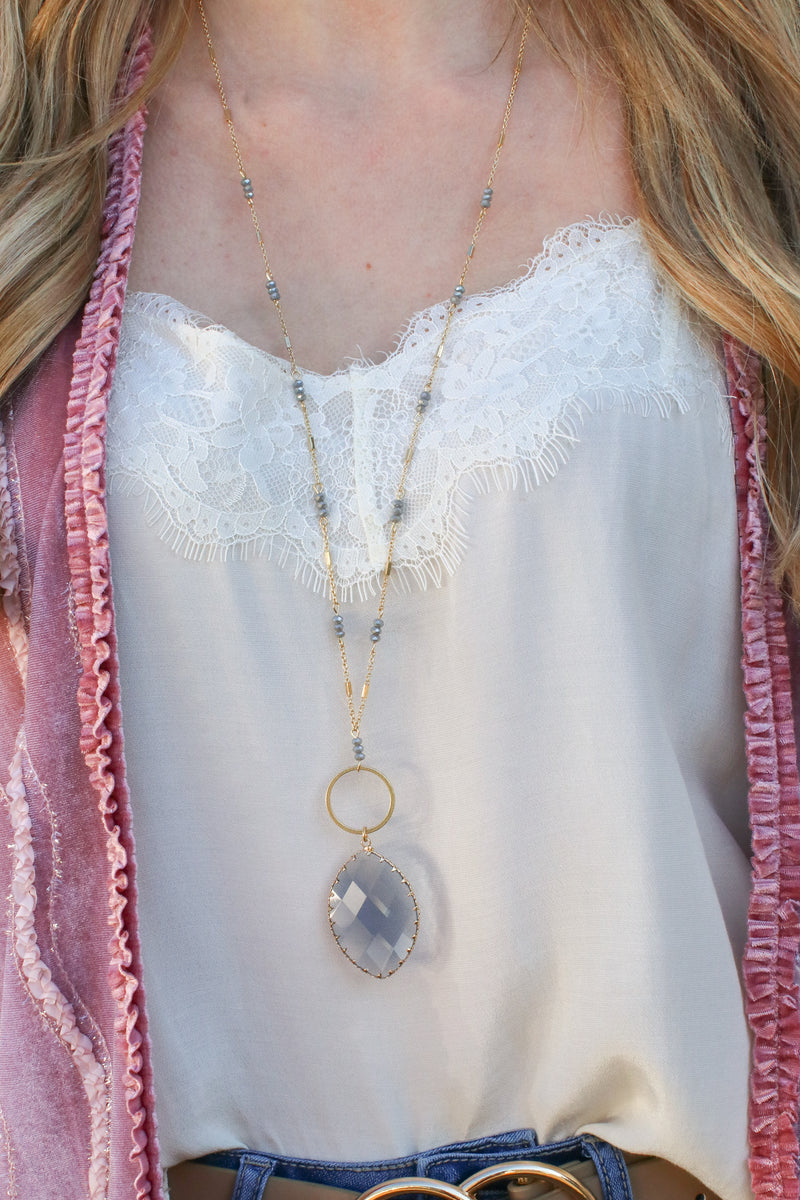 Zoya Teardrop Stone Necklace - Madison and Mallory