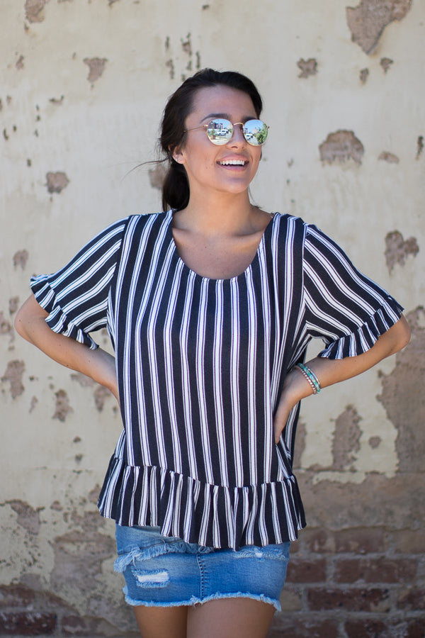S / Navy Haven Striped Top - Madison + Mallory