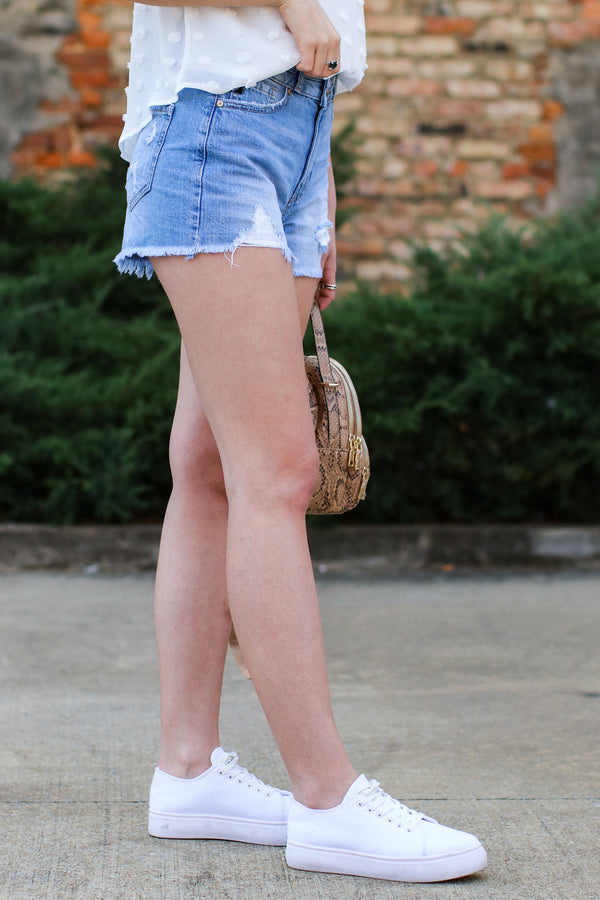 Aiken Distressed Denim Shorts - Madison and Mallory