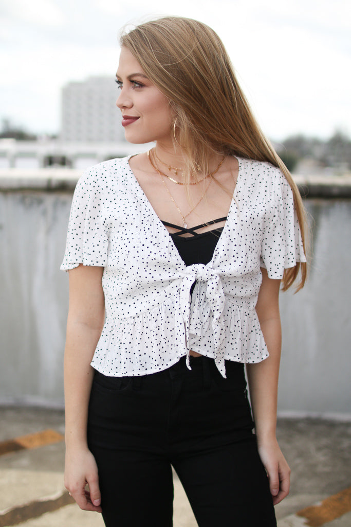 S / Ivory Polka Dot Tie Front Top - Madison + Mallory