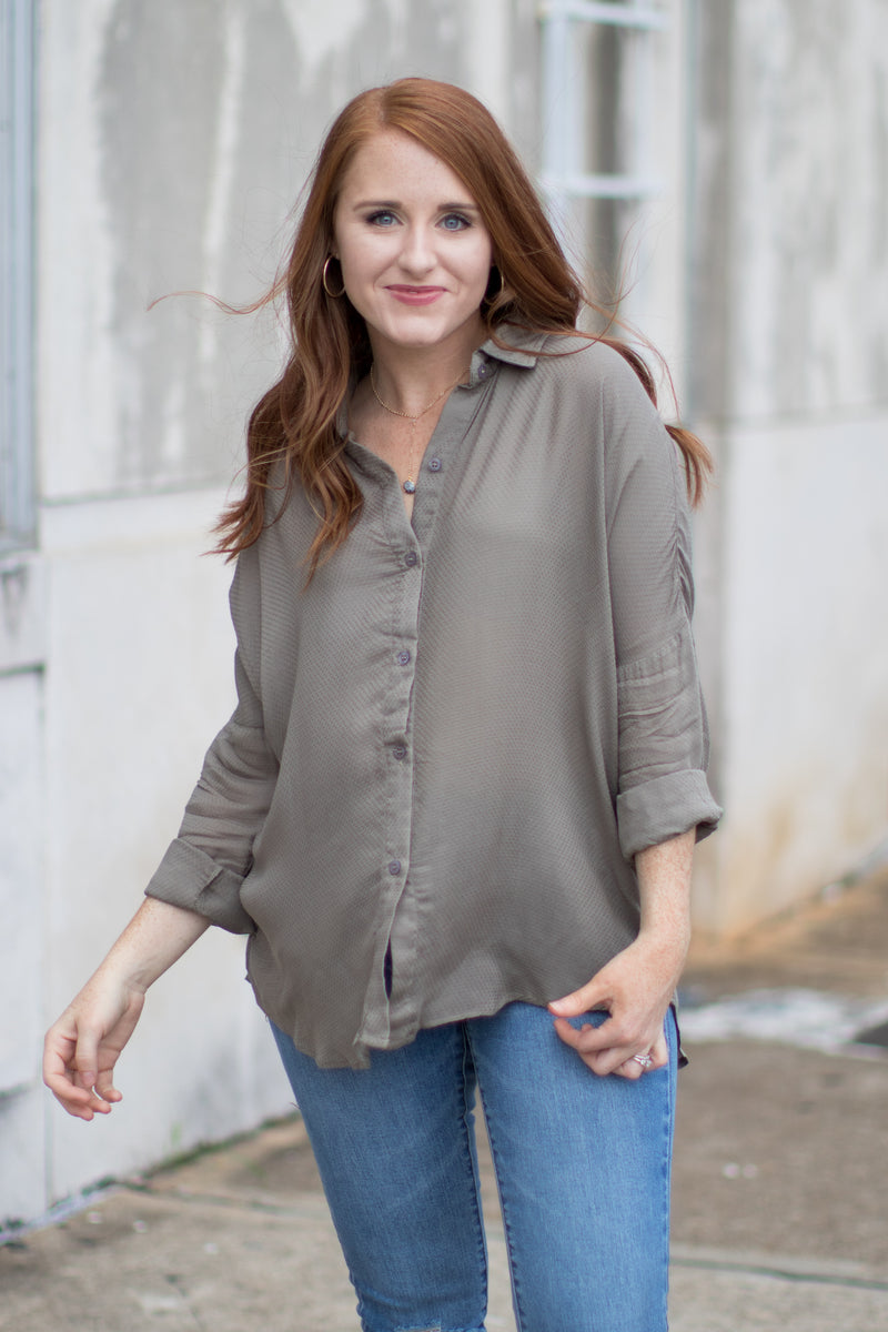 S / Olive Patricia Button Down Top - Madison + Mallory