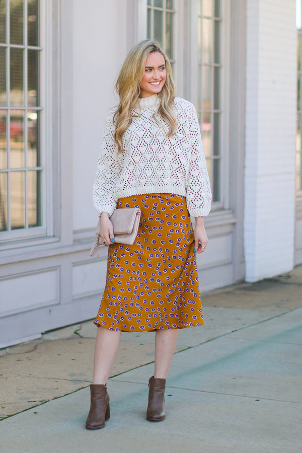 Fancy Plants Floral Midi Skirt - Mustard - Madison + Mallory