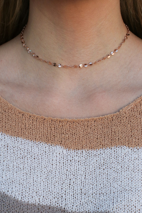 Rose Gold Poppy Disc Choker Necklace - Madison + Mallory