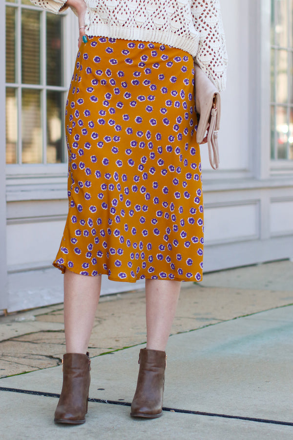 Mustard / S Fancy Plants Floral Midi Skirt - Mustard - Madison + Mallory