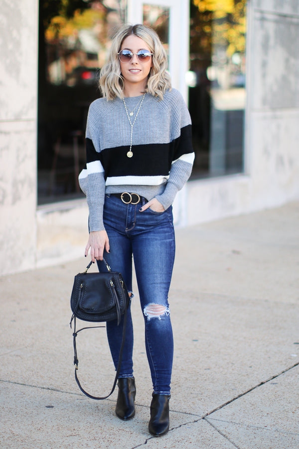 Tiffany Striped Dolman Sweater - Charcoal - Madison + Mallory