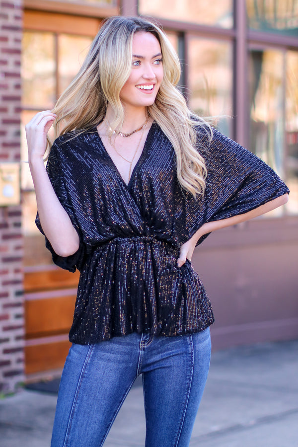 S / Black Sequins of Events V-Neck Top - Madison and Mallory