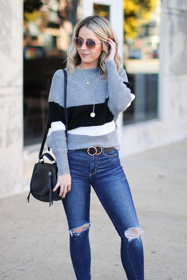 SM / Charcoal Tiffany Striped Dolman Sweater - Charcoal - Madison + Mallory