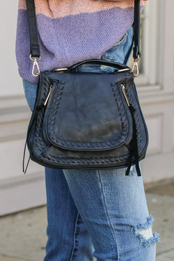 Khloe Whipstitch Crossbody Bag - Black - Madison and Mallory