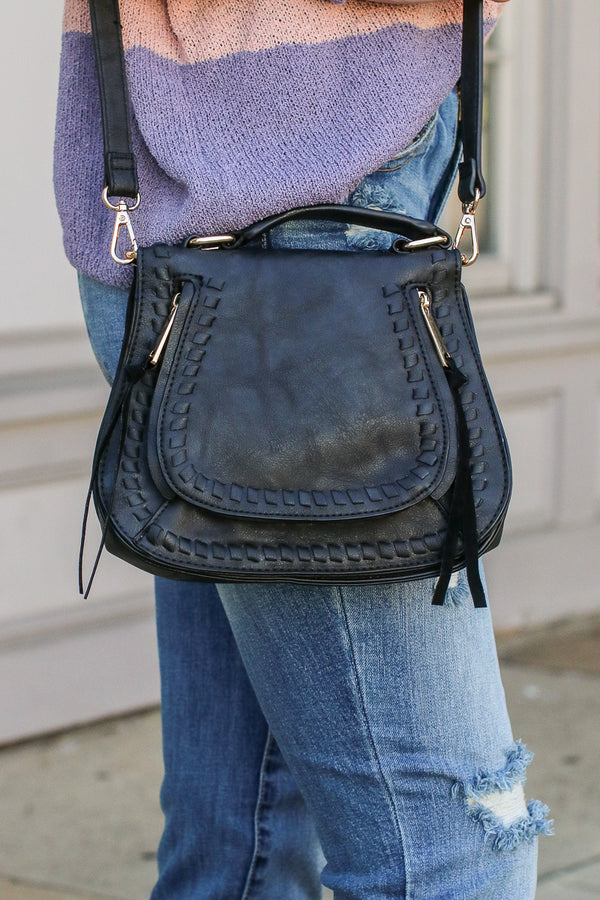 Khloe Whipstitch Crossbody Bag - Black - Madison + Mallory