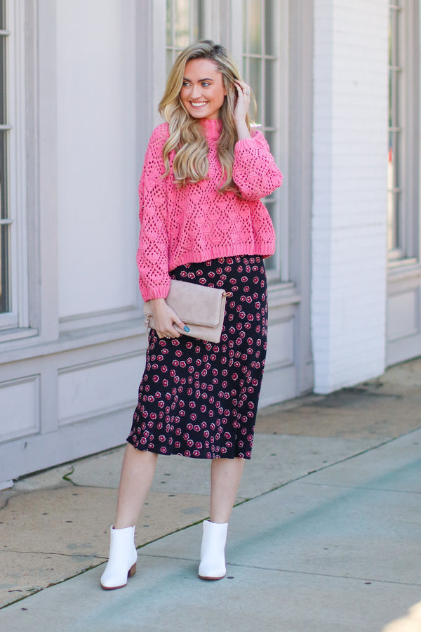 Fancy Plants Floral Midi Skirt - Black - Madison + Mallory