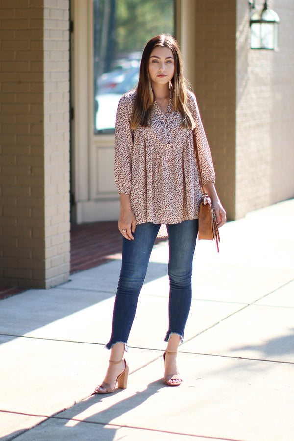 Luana Printed Peasant Blouse - Madison + Mallory
