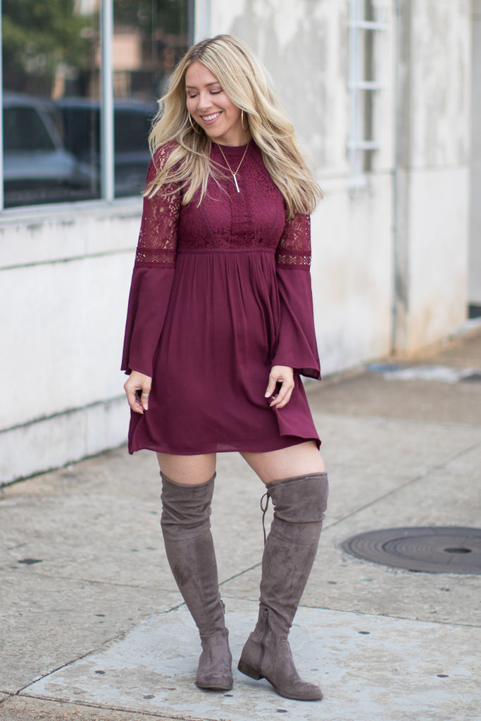Bell Sleeve Lace Dress - Madison + Mallory