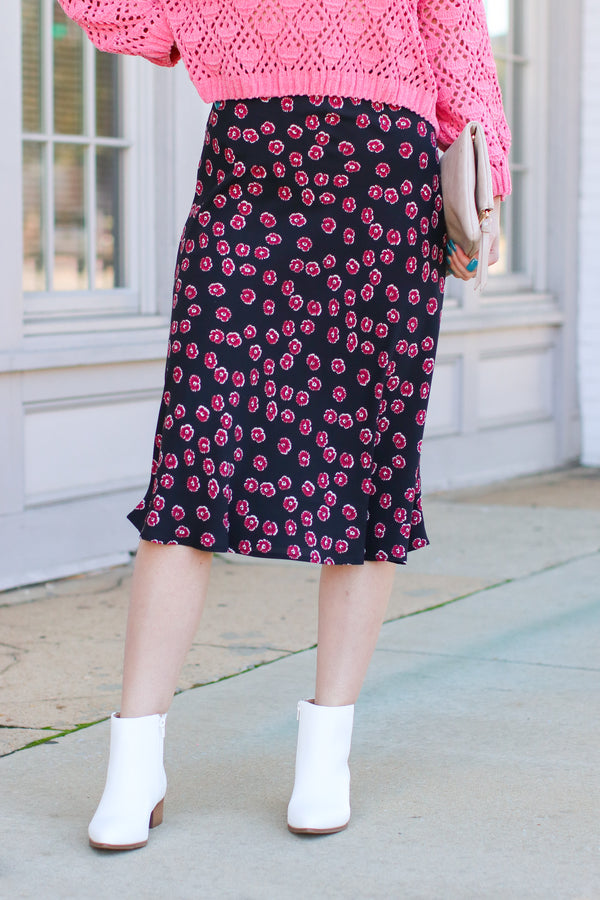 Black / S Fancy Plants Floral Midi Skirt - Black - Madison and Mallory