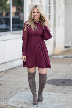 S / Burgundy Bell Sleeve Lace Dress - Madison + Mallory