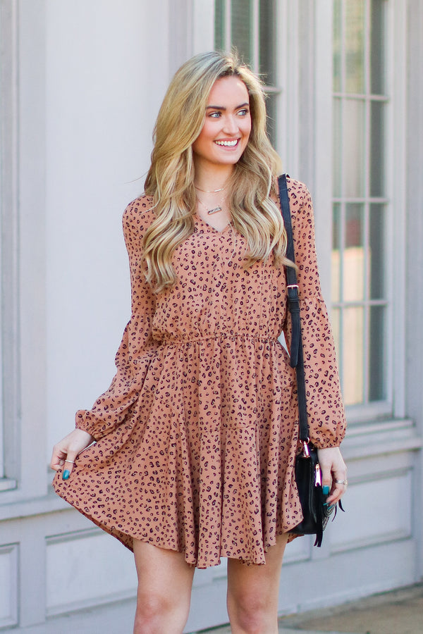 S / Taupe Editor's Pick Animal Print Dress - Madison and Mallory