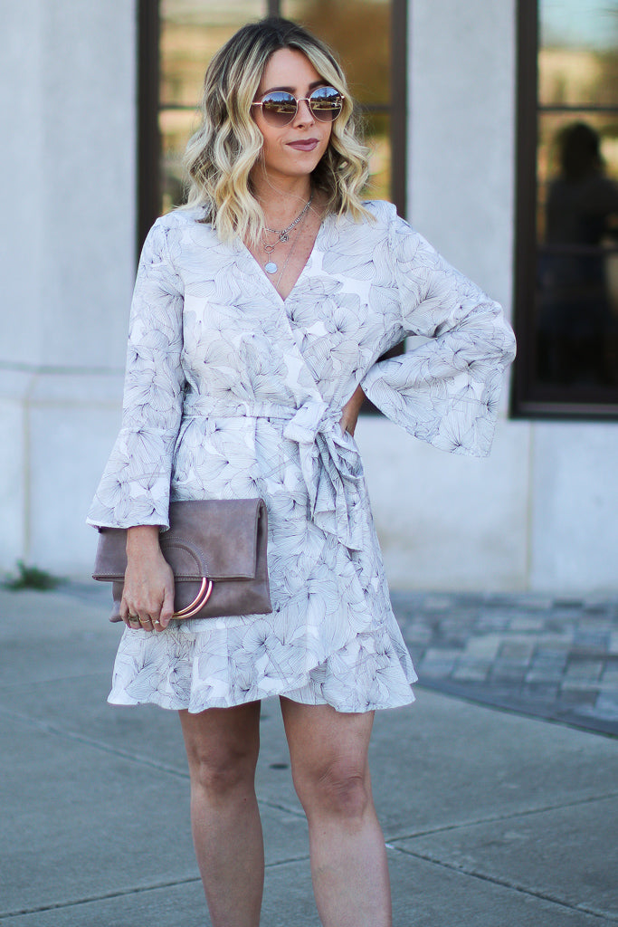 S / Off White Falling Hard Floral Wrap Dress - Madison + Mallory