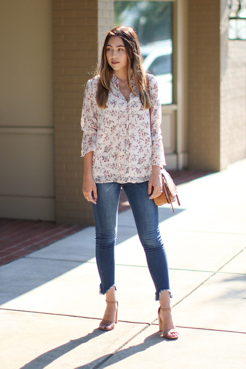 Vance High Rise Button Down Jeans - Dark Wash - Madison + Mallory