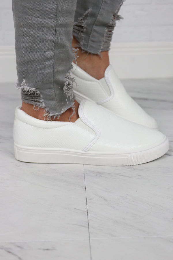 7 / White Traveler Slip On Sneakers - Madison + Mallory