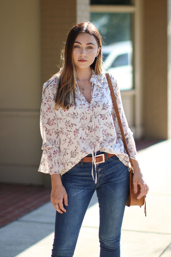 S / Ivory Randi Ruffled Floral Blouse - Madison + Mallory