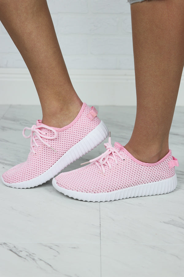 5 / Pink Pink Mesh Detail Lace Up Sneakers - FINAL SALE - Madison and Mallory